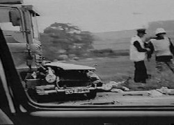 Fatal crash between car and nuclear weapon carrier